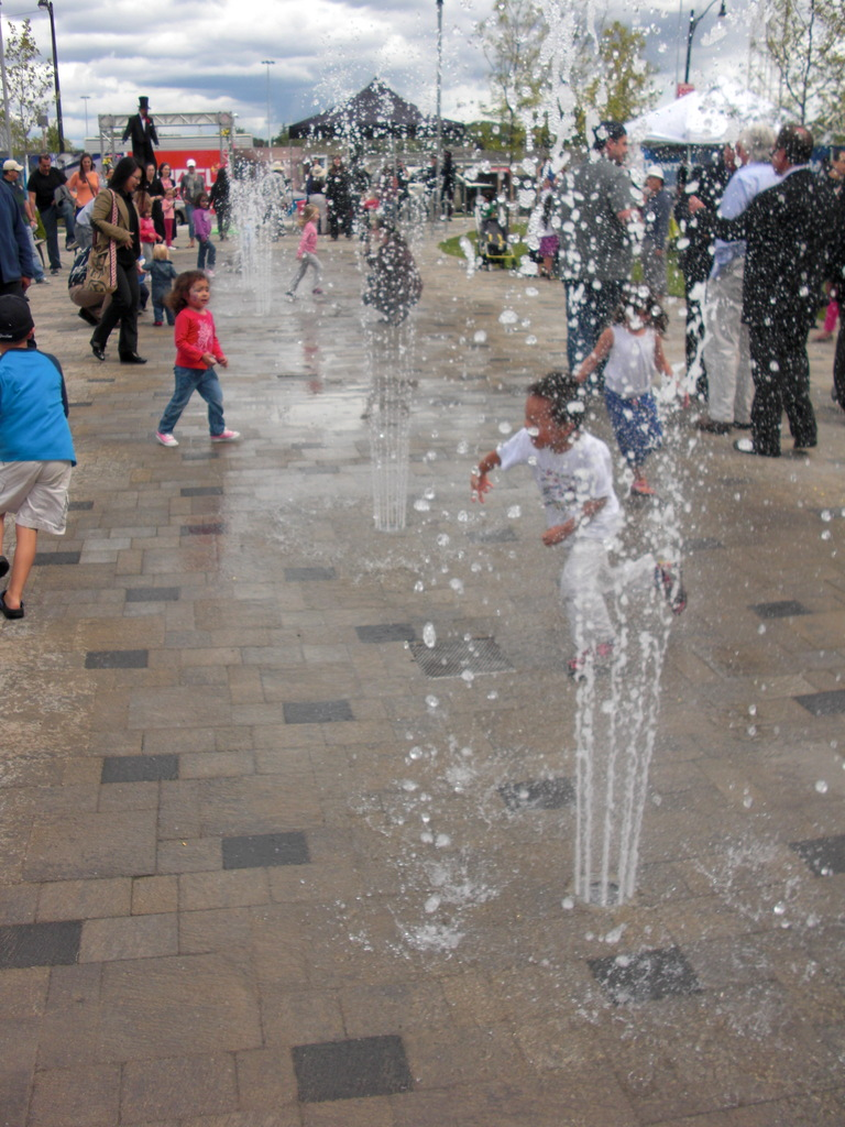 Kids enjoying the new water feature in Avonshire Park, which was unveiled on Saturday.