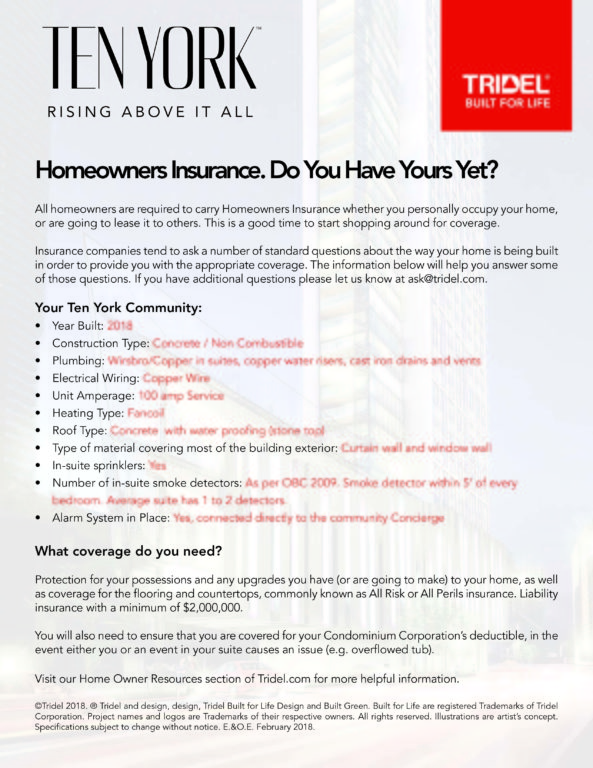 Ten York Insurance Information