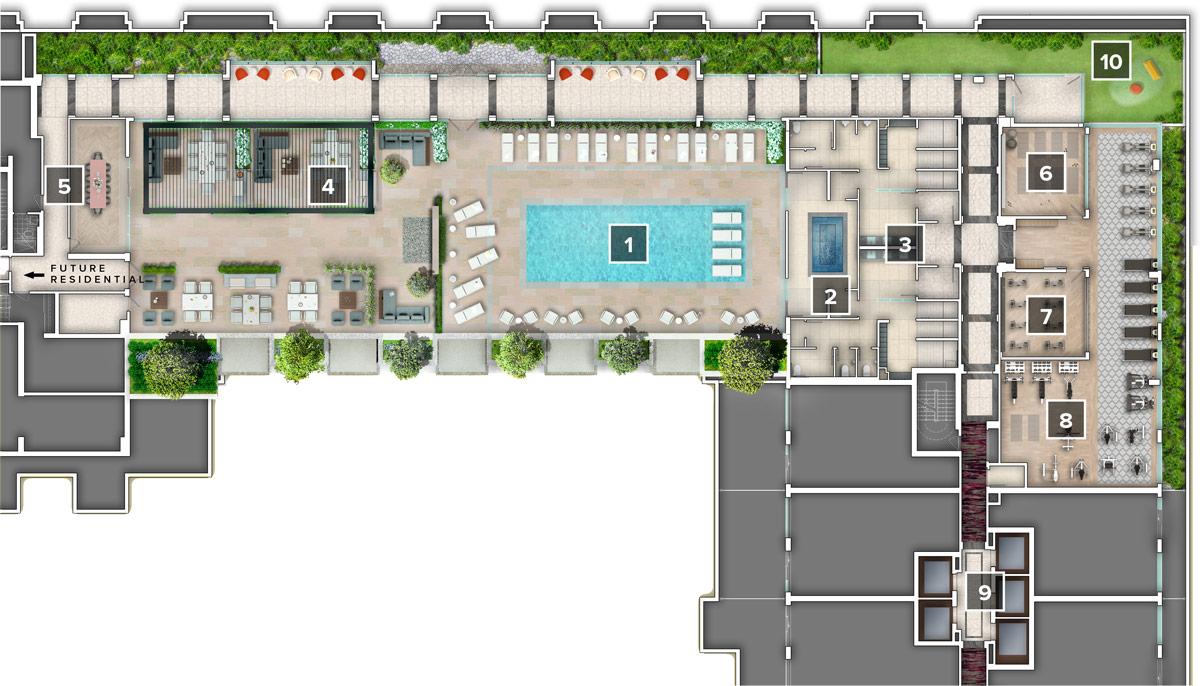 Auberge on The Park - 5th Floor Amenity Plan