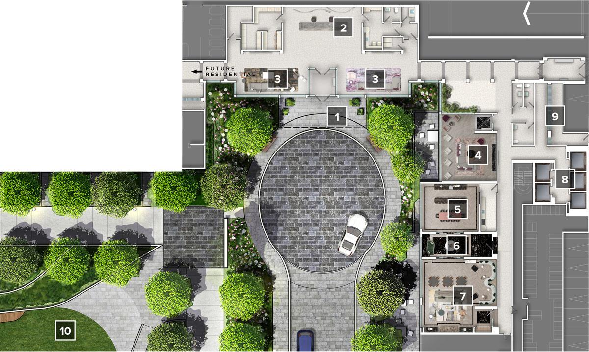 Auberge on The Park - Main Floor Amenity Plan
