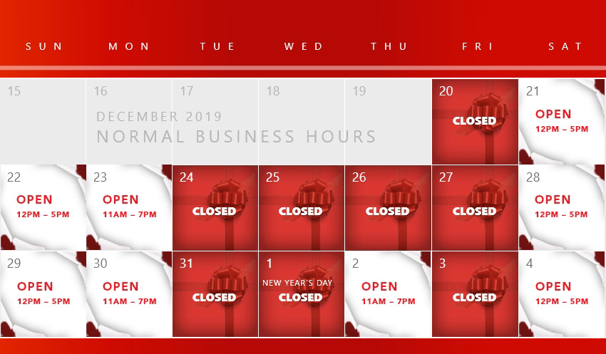 Holiday Hours Calendar 2019