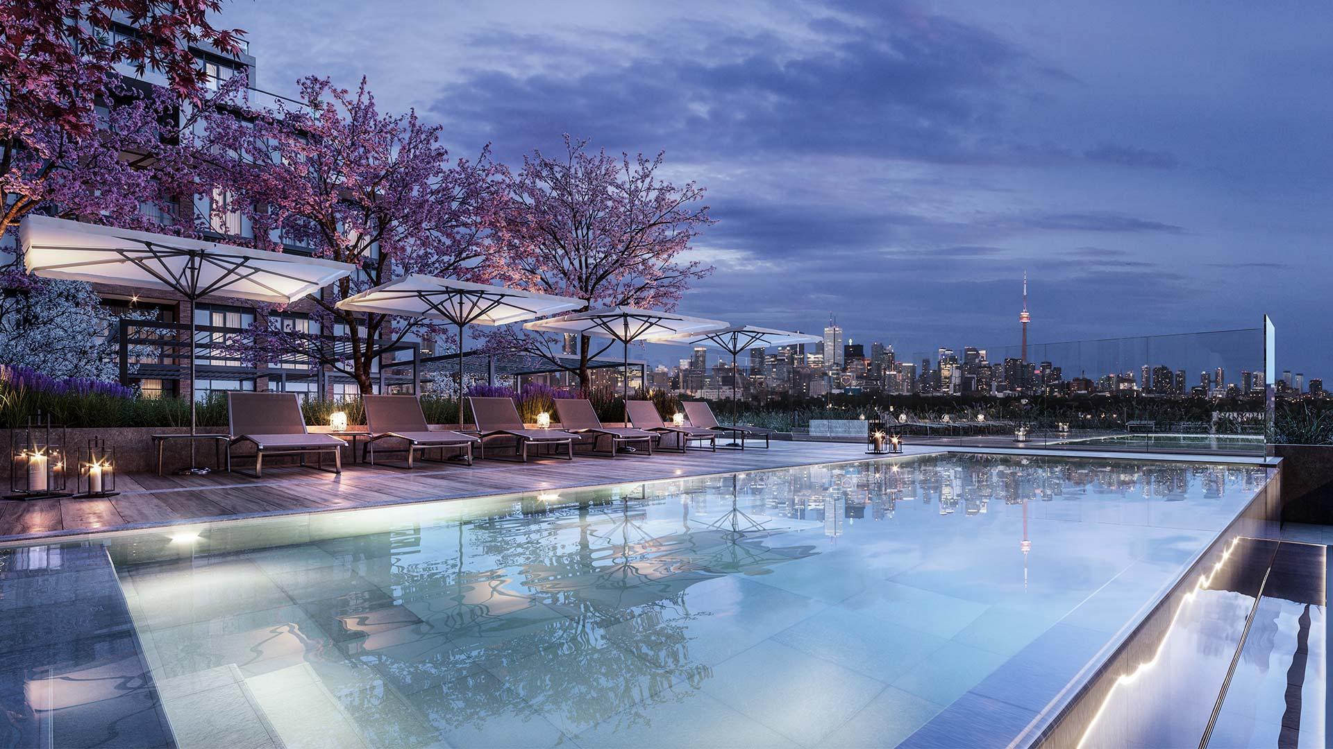 Outdoor pool overlooking Toronto skyline