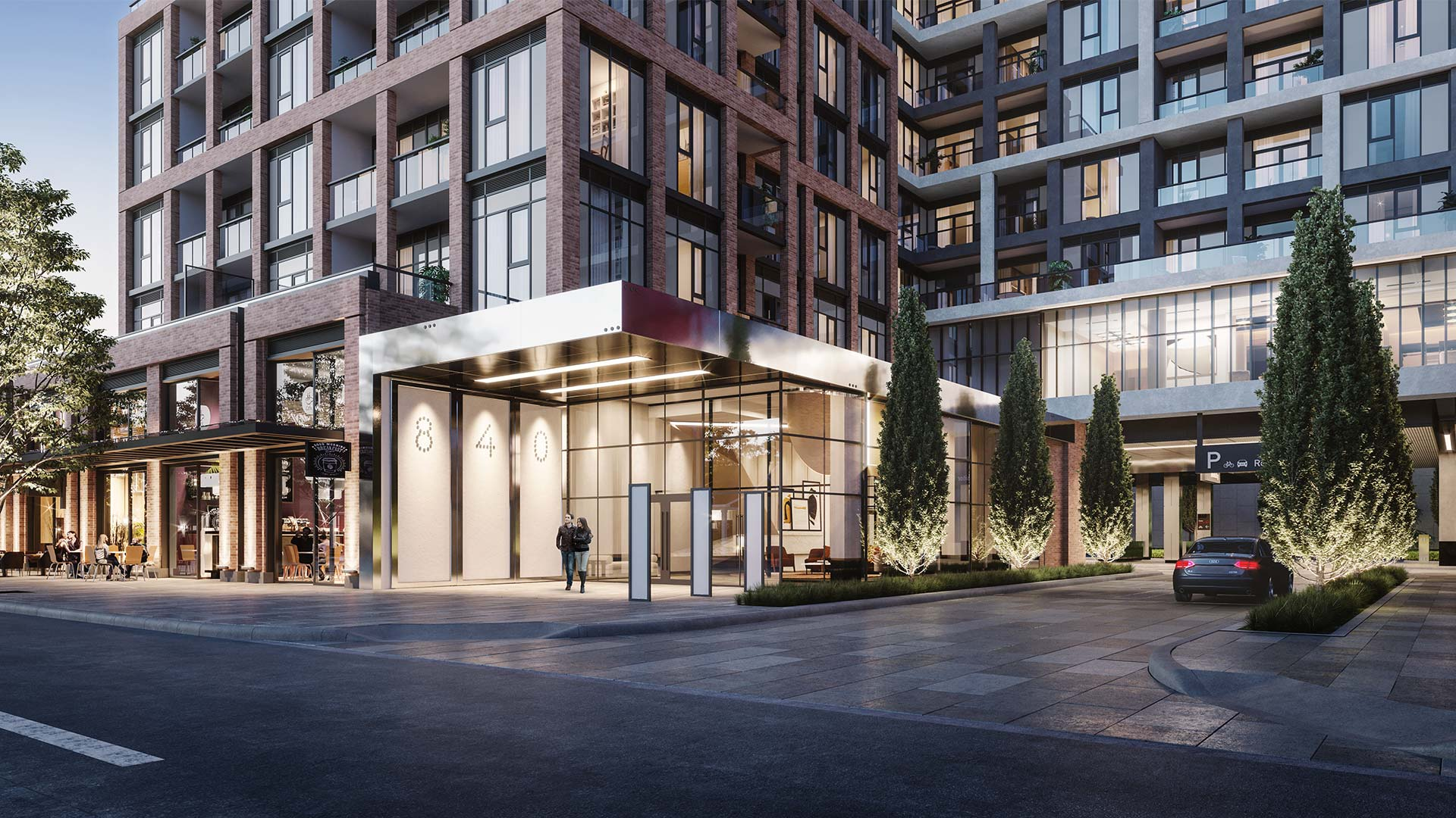 Street entrance to condo in Toronto - The Dupont