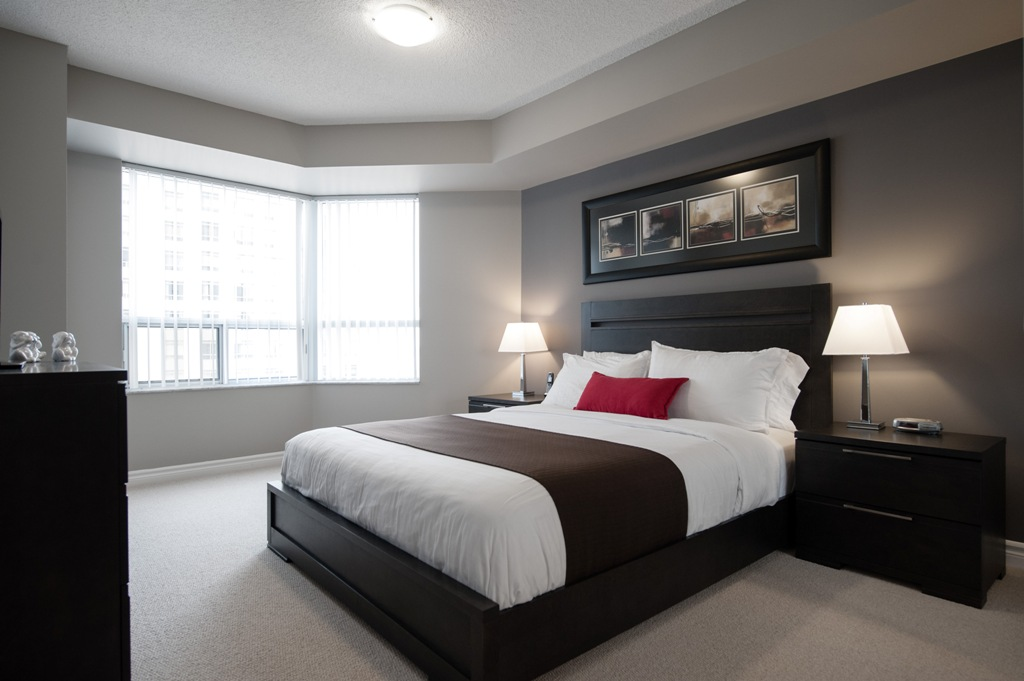 gray master bedroom delsuites quality furnished apartments tridel 11725